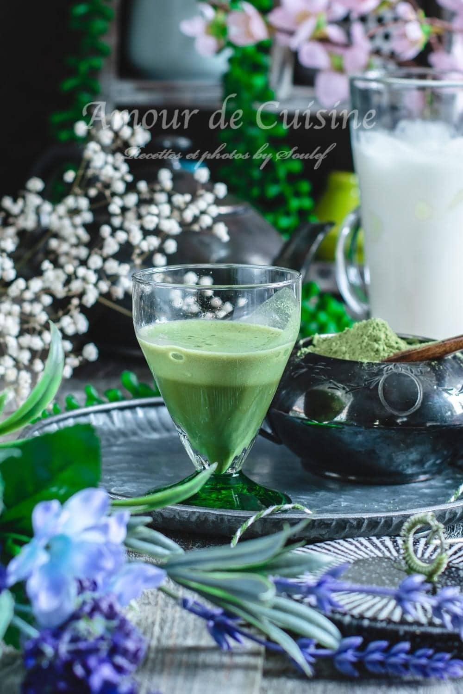 latte matcha, lait glacé au the vert