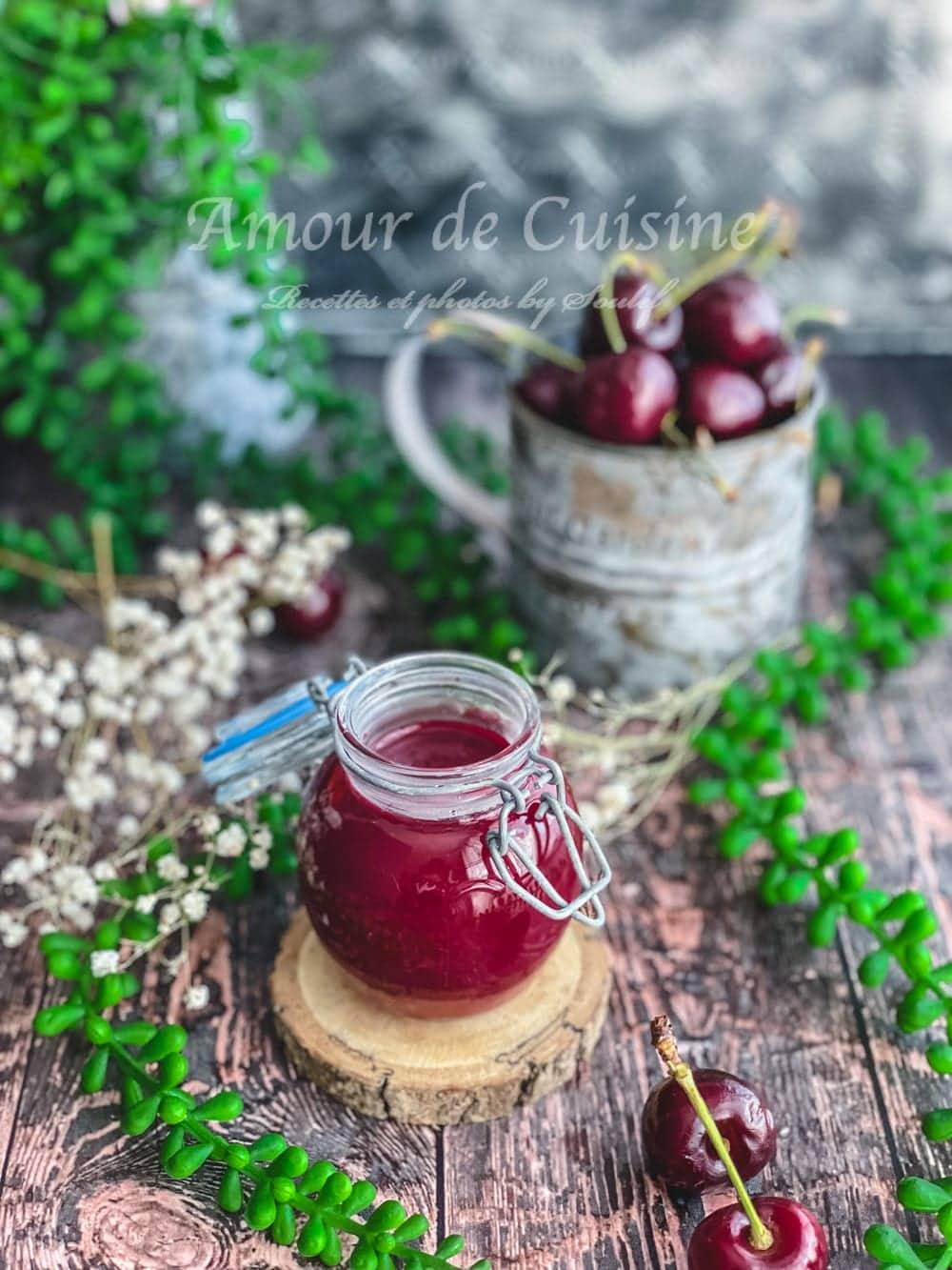 Recette maison du coulis de cerises facile, coulis de cerises conservé dans un pot